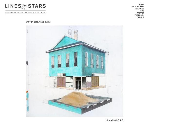 """Impact"" Appears in Lines + Stars, Winter 2013: Archivism (Print Only)"